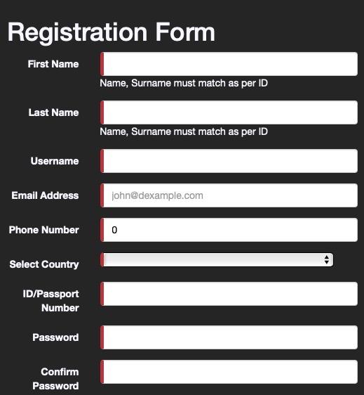 Registration form Supabets