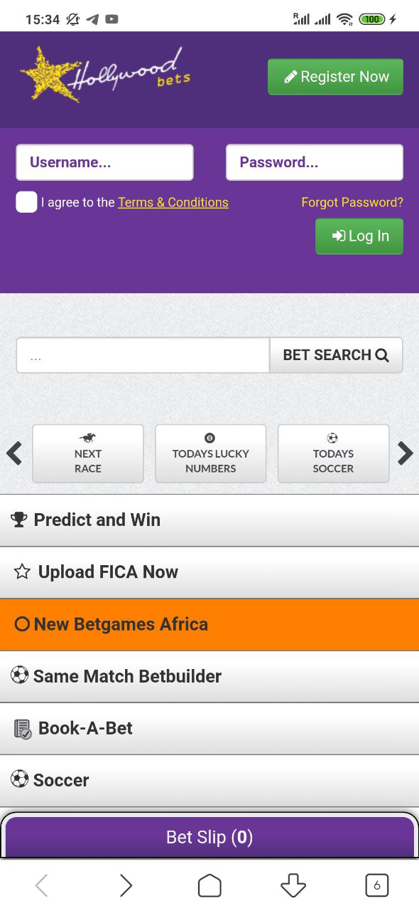 Go to mobi.hollywoodbets.net site