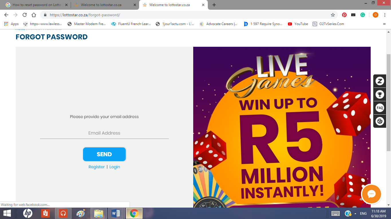 Reset Password on Lotto Star