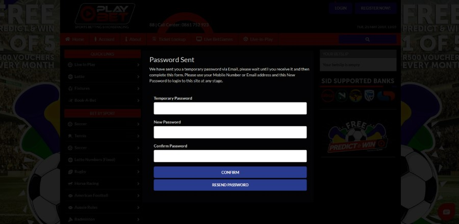 Reset Your Password on Playbet