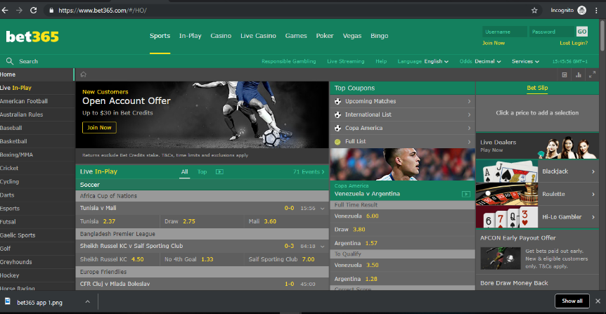 Visit the Bet365 mobile website