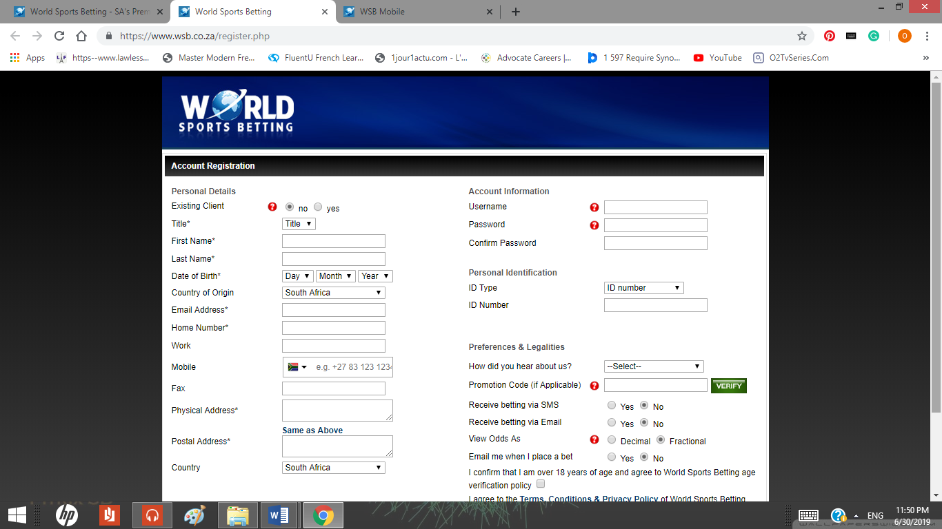registration page on World Of Sport website