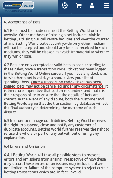 cancelling bet on betting world
