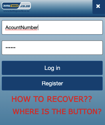 how to recover betting world password