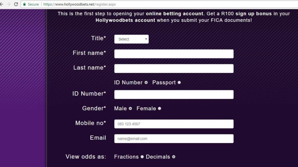 Fill in your personal details in the field provided on Hollywoodbets site