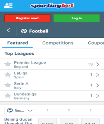 Visit the Google Play Store and search for Sportingbet Sportsbook