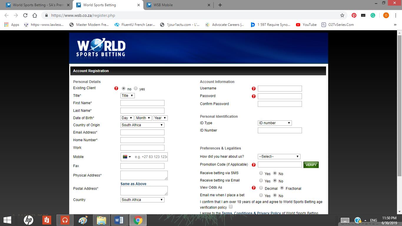 registration page on World Of Sport website